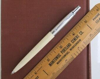 Parker Ballpoint Pen w/ Pencil Mechanism in White - Vintage w/ Brass Threads