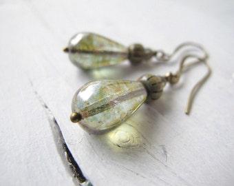Teardrop Earrings, Bohemian Dangle Earrings, Czech Glass Jewelry, Hippie Chic Bijoux, Clear Green Dangles, Rustic Elegance, Picasso Glass