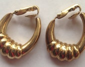 Vintage 14K Gold Filled Hoop Earrings Chunky Ridged Clip Ons
