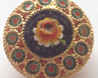 Vintage Micro Mosaic Brooch Round Green Red Blue Rose