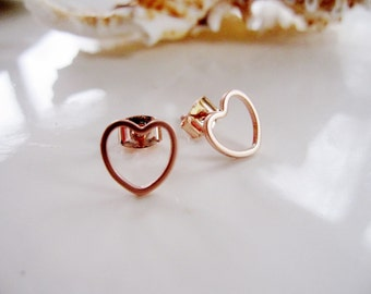 Tiny Heart Earrings, Rose Gold, Post Style, Geometric Rose Gold Earrings, Modern, Everyday, Minimalist Jewelry, Redpeonycreations