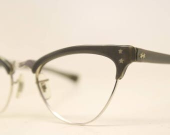 Unused Gray Aluminum cat eye eyeglasses 1/10 12k Gold Filled vintage cat eye glasses frames Cateye frames NOS