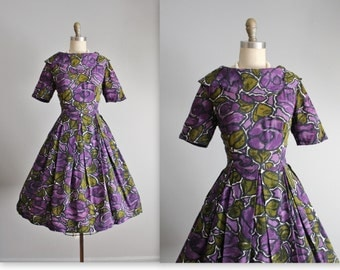 60's Floral Dress // Vintage 1960's Bold Floral Print Full Skirt Mad Men Dress S