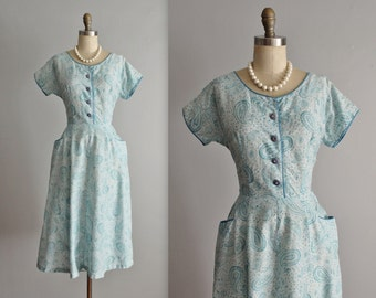 50's Shirtwaist Dress // Vintage 1950's Paisley Blue Rhinestone Garden Party Shirtwaist Dress M