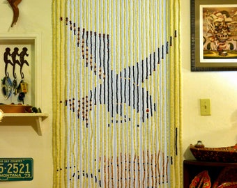 Vintage DEADSTOCK Bead Door Curtain: NOS 70s Fringe Doorway Room Divider -- Bird & Flower -- Natural / Organic / Boho / Gypsy / Hippie Chic