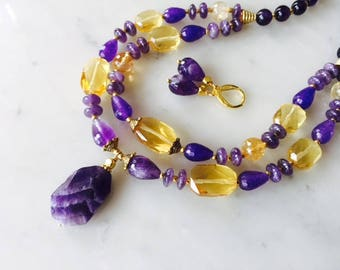 Purple amethyst yellow citrine lavender necklace earrings set, multi strand, chunky, handmade, natural gemstone, multistrand, gift idea