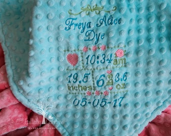Personalized Minky Baby Blanket, Personalized Birth Record Minky Baby Blanket, Subway Personalized Minky Baby Blanket,  Baby Gift