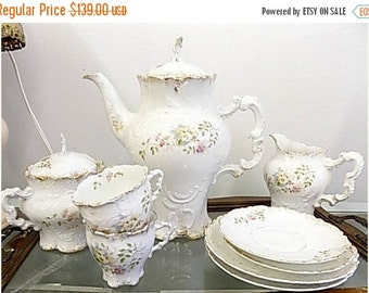 Antique Limoges Style Tea Set - Teapot Creamer Sugar Cups Saucers - Cottage Chic - Paris Apartment
