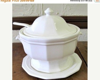 Antique Covered Serving Bowl Tureen Ironstone Cottage chic Paris Apartment