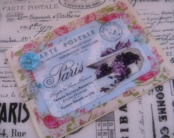 Antique French Label Inspired Card Floral Blank Greeting Gift Giving All Occasion
