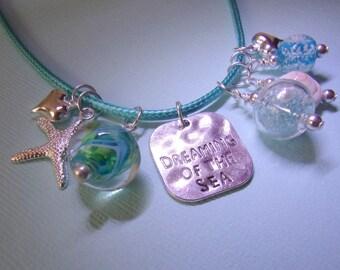 Beach Charm Necklace, Ocean, Glow in the Dark, Aqua Blue, Dreamer