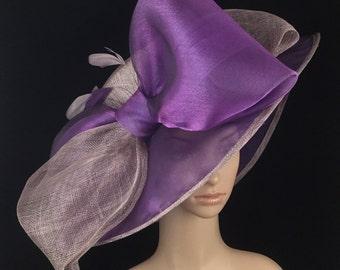 Purple Sinamay and Silk Wide Brim Kentucky Derby Hat, Church Hat, Bridal Wedding Hat, Dress Hat, Tea Party Hat
