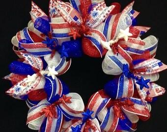 10% OFF 4th of July Wreath, Patriotic Wreaths, RWB Wreaths (1680)