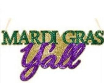 15% OFF 14.5 Inch Mardi Gras Y'all Sign MS712742, Mardi Gras Decor, Mardi Gras Decorations, Wreath Decor