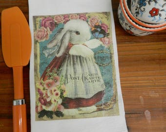 Bunny Rabbit  Kitchen Tea Towel Dressed Rabbit Flour Sack  Easter Towel Gift