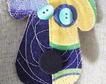Dog Lapel Pin Puppy Brooch multicolor Fabric scrap  button Fashion Accessory Purse pin scarf decoration dog-lover Vet teacher gift groomer