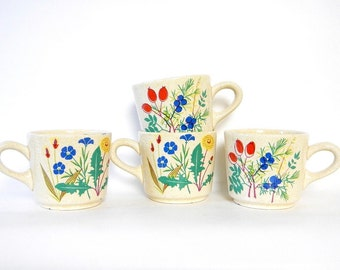 Set of Four Vintage 1960s/'70s Waechtersbach Floral and Berry Tea/Coffee Cups