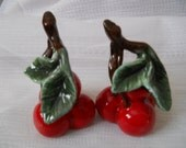 Cherries Salt and Pepper Shakers - vintage, collectible, fruit