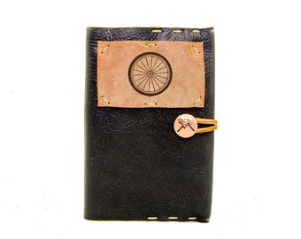 Small Leather Journal with Aspen Leaf in Midnight Espresso