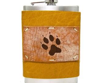 8oz Dog Paw Flask Homemade in Aspen in Honey Ginger