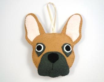 Felt Dog Ornament - French Bulldog