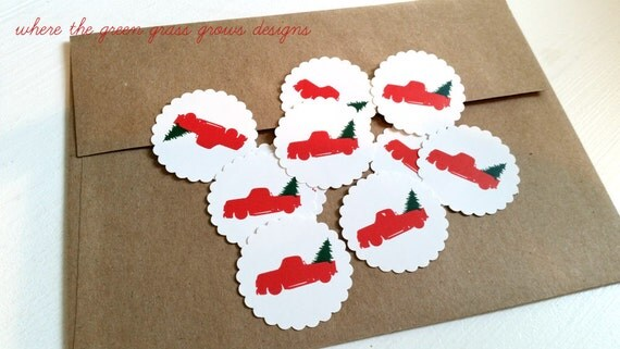 Red Truck with Christmas Tree Stickers