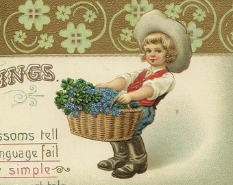 Vintage EAS Postcard Boy With Basket of Forget-me-Nots 1912 E A Schwerdtfeger - Collectible Paper Ephemera - Spring Celebration