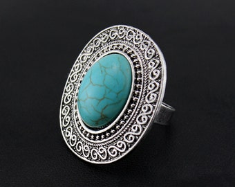 Large Oval Cocktail Turquoise Ring, turquoise Statement Ring, Trendy Adjustable Ring, Blue Fashion Rings, Blue Jewelry, Boho Summer  Rings