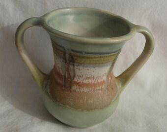 Vintage Double Handle Stoneware Bud Vase, Southwest Design, Japan