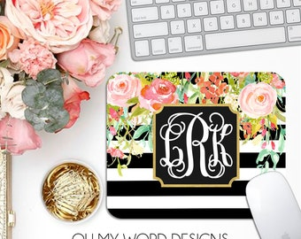 Monogram Mouse Pad-Desk Accessories-Watercolor Flowers and Stripes-Monograms-Mouse Pad-Flowers-Desk-Personalized Mouse Pad