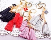 Synthetic Leather Tassels Monogram Flower Fashion Gold Pendant Charm Key Chain Ring Keychain