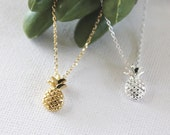 Pineapple Necklace in Gold/ Silver. Food Jewelry. Collarbone Necklace. Cute and Sweet. Fruit Jewelry. Gift For Her (PNL- 195)