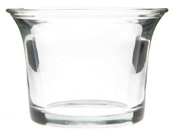 Clear Glass Oyster Wedding / Party Glass Jar Votive / Tea Light Candle Holder - Set of 12