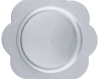 """13"""" Silver Wedding / Party Flower Metallic Plate Charger"""