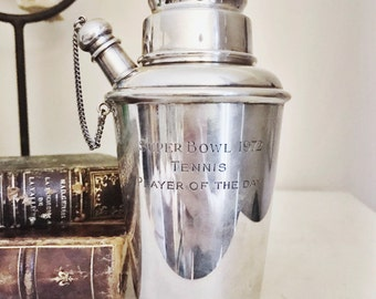 Vintage Cartier Sterling Silver Cocktail Shaker Engraved as Tennis Trophy