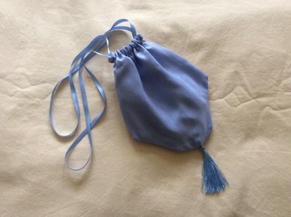 Regency Reticule,Bag. Victorian. Jane Austen. French Blue