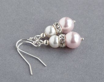 Blush Pink Pearl Drop Earrings - Powder Pink Bridesmaid Earrings - Champagne Pink Wedding Party Gifts - Blush Pink Pearl Bridal Jewellery