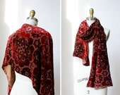 Red Velvet Scarf • Floral Scarf • Red Scarf • Burgundy Scarf • Floral Silk Scarf • Vintage Scarf • Folk Art Boho Scarf  | SC295