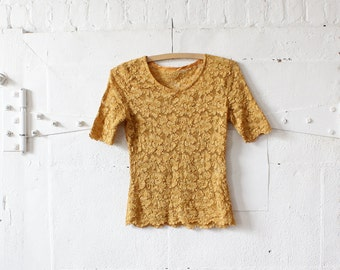 Lace Top M • Mustard Yellow Top • Scoop Neck Yellow Top • Sheer Top • Lace Shirt • Fall Top • 90s Top • Grunge Top • Knit Top | T644