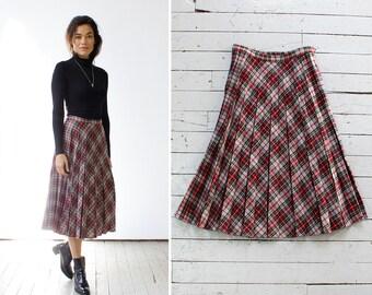 Box Pleated Skirt S/M • Red Plaid Skirt • Wool Pleated Skirt • Flowy Skirt • Wool Plaid Skirt • Winter Skirt • Wool Midi Skirt  | SK710