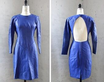 Cobalt Blue Leather Dress S/M • 80s Dress • Open Back Dress • Wiggle Dress • Blue Dress • Tight Dress by Firenze | D1148
