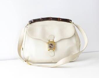 Vintage Gucci Bag • Vintage Leather Purse • Vintage Gucci Purse • White Leather Handbag • 80s Purse • Italian Handbag | GB028