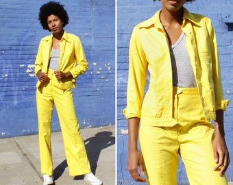 70s Outfit S • Vintage Two Piece • Yellow Pants • Flare Pants • 70s Pants • Summer Outfit • Two Piece Outfit • Yellow Jacket | D1086
