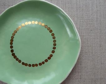 Poppy Gold Dot Circle Ring Dish SALE