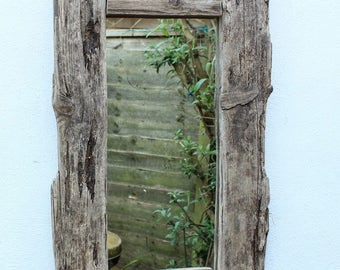 Driftwood Mirror,Drift Wood Mirror, Bleached Driftwood  Mirror, Drift Wood Beach Mirror Cornwall UK