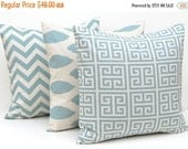 15% Off Sale Pillows, Pillow Cover, Throw Pillow Covers Village Blue on Natural Greek Key, Chevron and Ikat Decorative Pillow Covers 16 x 16