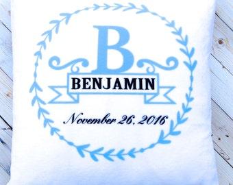 Monogram Pillow - New Baby Boy Gift - Blue Nursery Decor - Personalized Baptism  Gift - White Plush - 14 x 14 Inches