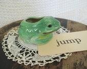 Vintage Frog Pottery Planter - Japan Green Frog - Cottage Decor - Garden Decor