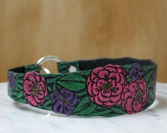 Floral ID Tag Holder Collar - Hand-Tooled Leather - Ready to ship!