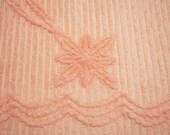 Plush Cantaloupe or Peach Vintage Chenille Bedspread Fabric - 2 pieces